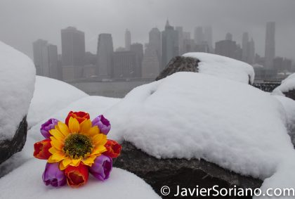 3/21/2018. Brooklyn Bridge Park, Brooklyn, NYC - Winter Storm Toby. 21/3/2018. Parque del Puente de Brooklyn. Ciudad de Nueva York - Tormenta de Nieve Toby. Photo by Javier Soriano/www.JavierSoriano.com