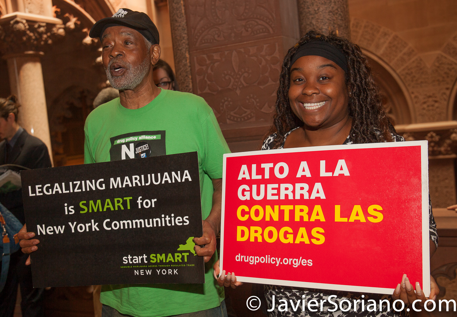 Tuesday, May 8, 2018. Albany, New York - Activists from different cities in New York State traveled to Albany, the capital of the state, to demand the legalization of marijuana in New York State with a focus on racial and economic justice. Left to right: Member of VOCAL-NY and Kassandra Frederique was the New York State Director at the Drug Policy Alliance (DPA). Today, Kassandra Frederique is the executive director of the Drug Policy Alliance. Photo by Javier Soriano/www.JavierSoriano.com
