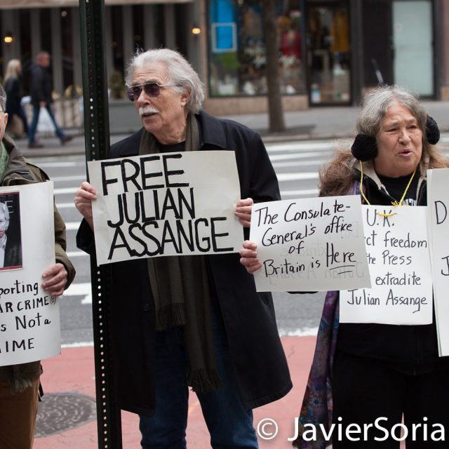 Thursday, April 11, 2019. New York City - A group of people gathered in front of the British Consulate General New York (1 Dag Hammarskjold Plaza/885 Second Avenue) in support of Julian Assange. Assange was arrested today by the London police.