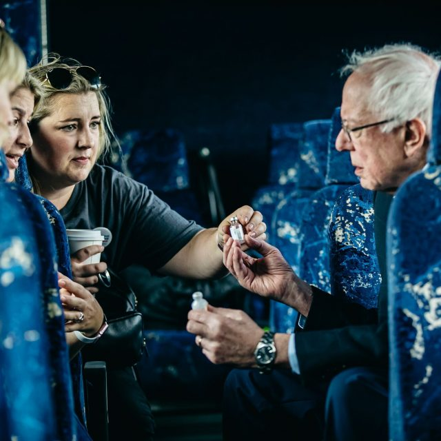 Quinn showing Bernie her insulin on the way to Canada. Photo by Bernie Sanders.