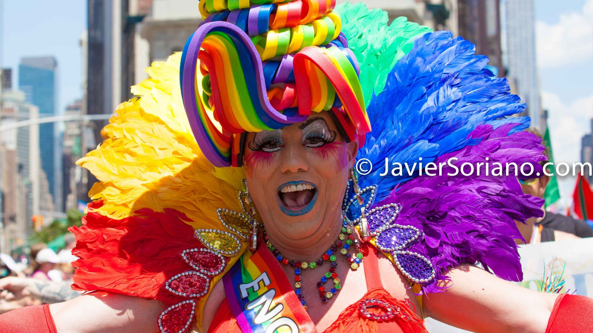 Sunday, June 30th, 2019. New York City - Woman wearing a beautiful costume at the NYC Pride March. The 50th anniversary of the Stonewall Rebellion was on Friday, June 28th, 2019. People from around the world came to New York City to celebrate.