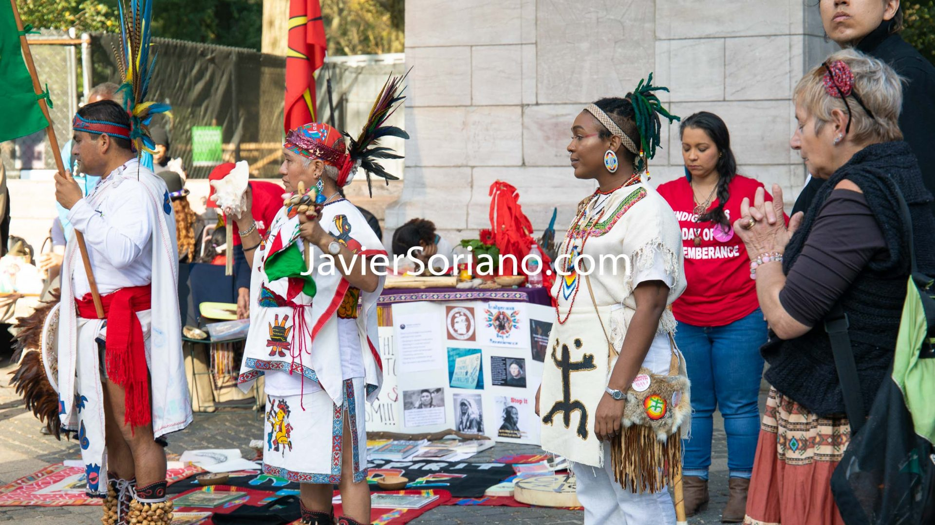 Sunday, October 13th, 2019. New York City - Indigenous peoples and their allies gathered at Columbus circle (59th Street and Central Park West) to celebrate NYC's 12th Annual Indigenous Day of Remembrance. More and more cities and states in the United States of America are honoring Indigenous Peoples' Day instead of Columbus Day. Photo by Javier Soriano/www.JavierSoriano.com