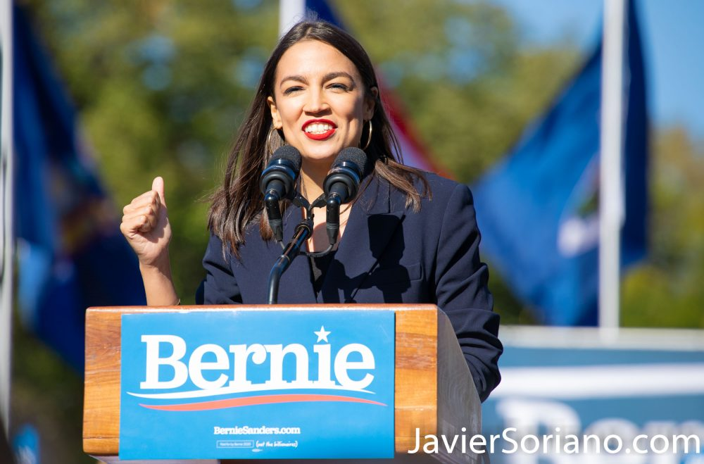 Saturday, October 19, 2019. Queens, New York City - Bernie Sanders had a rally in Queens today. U.S. Representative for New York's 14th congressional district, Alexandria Ocasio-Cortez (popularly known as AOC) endorsed Bernie Sanders for president. Almost 26 thousand people attended the event. Photo by Javier Soriano/www.JavierSoriano.com