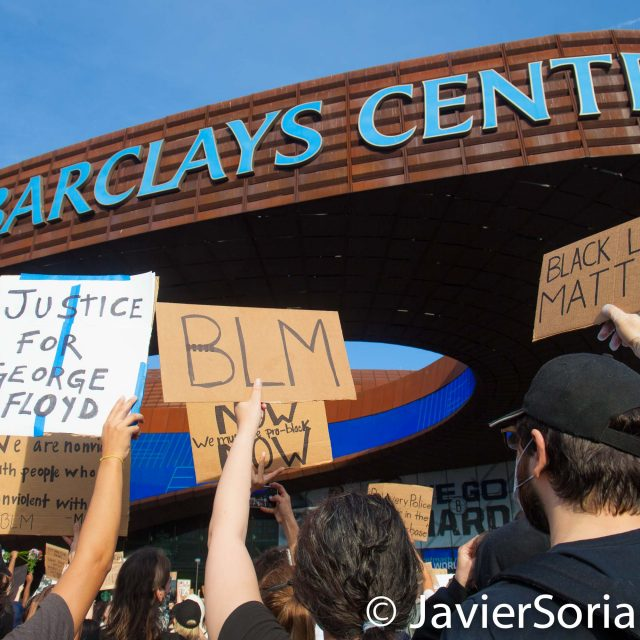 Friday, May 29, 2020. Brooklyn, New York City - Rally at Barclays Center to demand justice for George Floyd. Photo by Javier Soriano/www.JavierSoriano.com