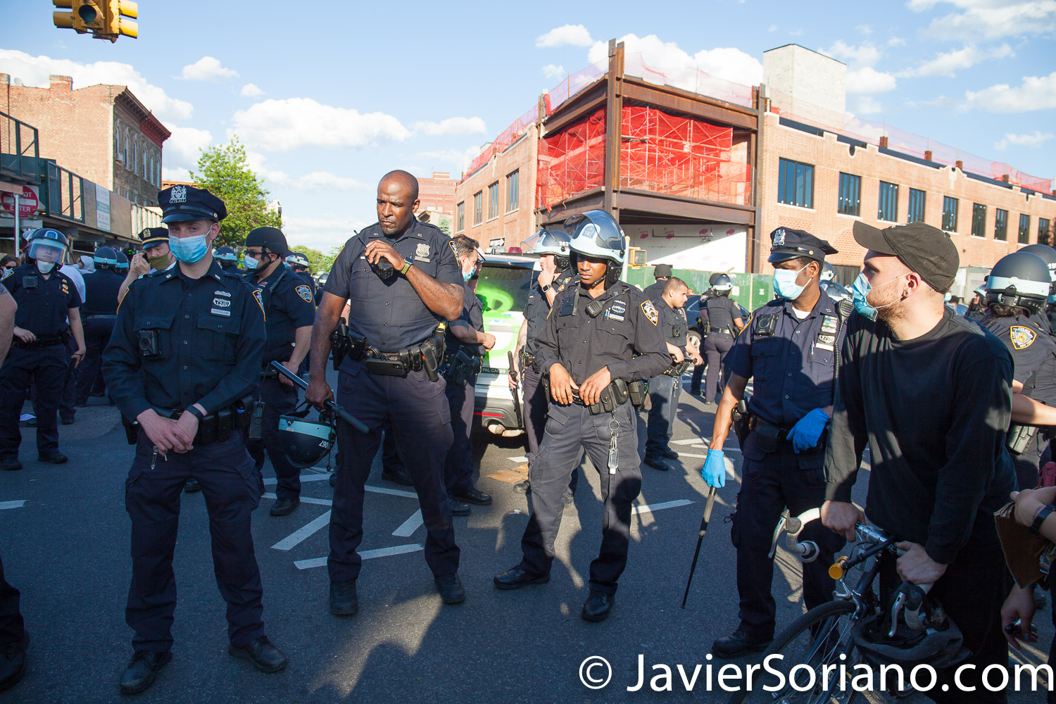 Saturday, May 30, 2020. Brooklyn, New York City - March in Flatbush to demand justice for George Floyd. Many NYPD officers were not wearing a mask. Photo by Javier Soriano/www.JavierSoriano.com