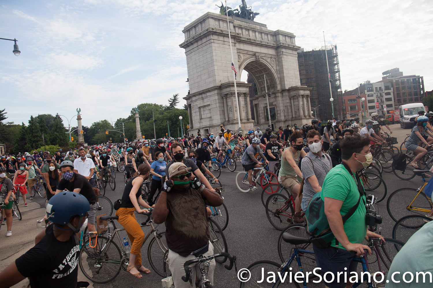 Wednesday, June 10, 2020. Brooklyn, New York City – Today was the second bike ride in solidarity with Black Lives matter. People gathered at Grand Army Plaza and rode their bikes to different places in Brooklyn. Photo by Javier Soriano/www.JavierSoriano.com