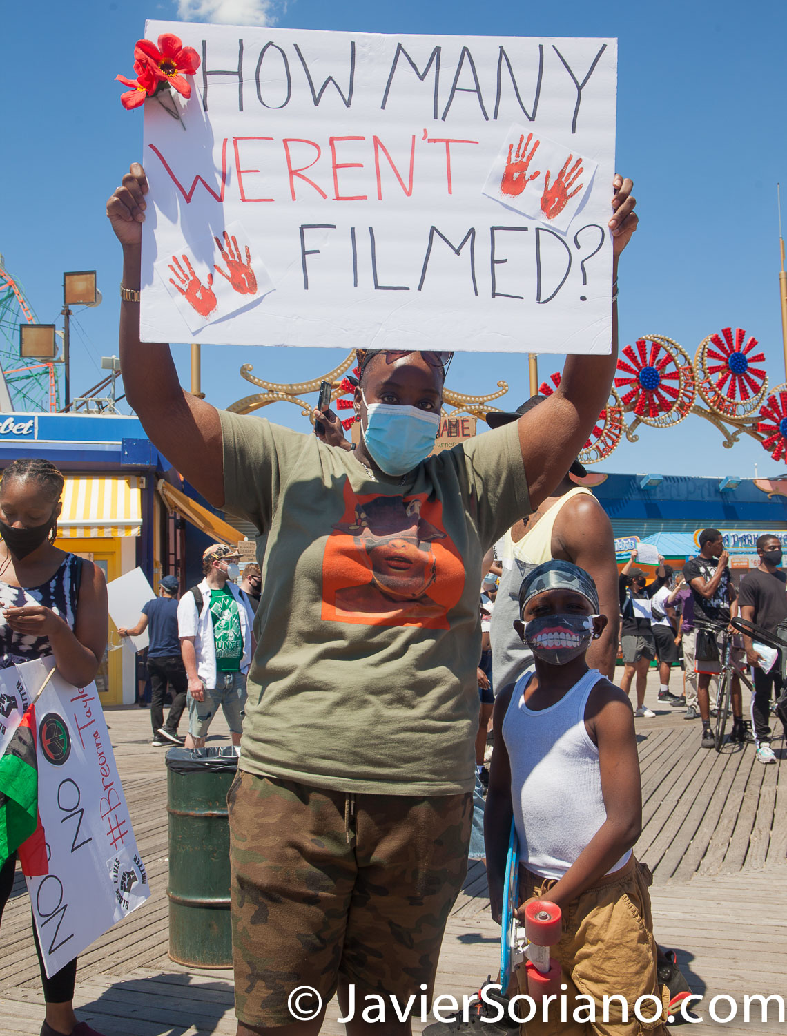 """Friday, June 12, 2020. Brooklyn, New York City - Rally and march in Coney Island. Protestors said it was a """"Peaceful demonstration for George Floyd, Breonna Taylor and the many other victims of police brutality."""" Photo by Javier Soriano/www.JavierSoriano.com"""