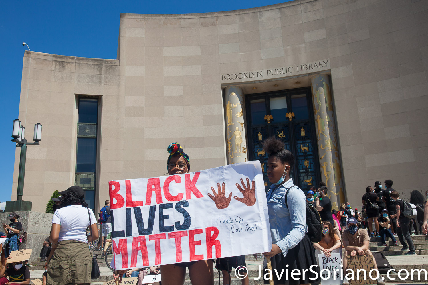 """Saturday, June 13, 2020. Brooklyn, New York City – Protest """"Black Excellence Walk. A march for unity"""" in front of the Brooklyn Public Library. People marched from the Library to 1 Police Plaza in Manhattan. Photo by Javier Soriano/www.JavierSoriano.com"""