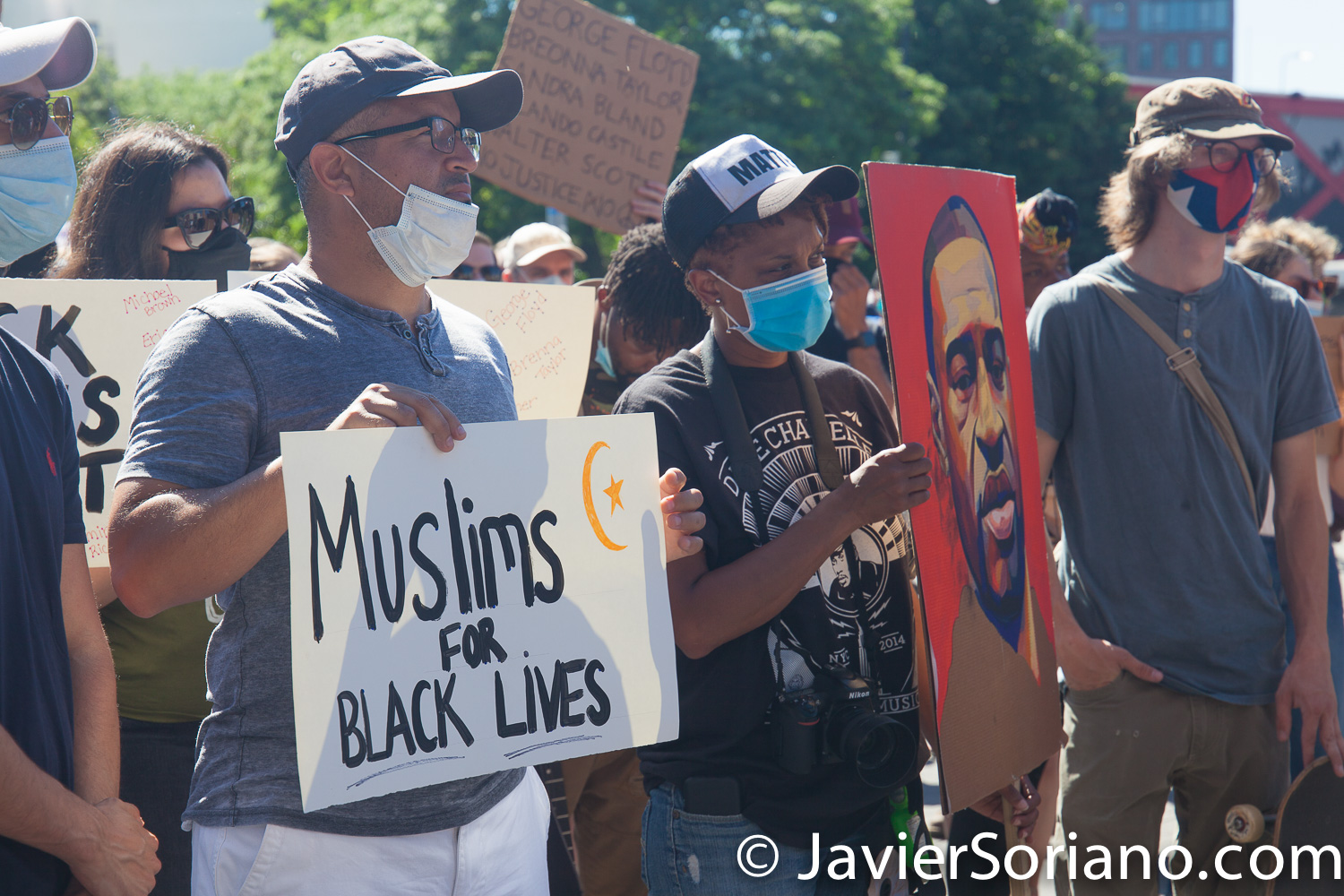 """Saturday, June 13, 2020. Brooklyn, New York City – Protest """"Muslims against racism and police brutality"""" at Barclays Center. Brooklyn, NYC. Photo by Javier Soriano/www.JavierSoriano.com"""
