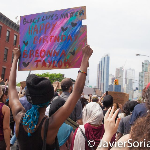 Friday, June 5, 2020. Brooklyn, New York City - Rally and march to demand justice for Breonna Taylor and to celebrate her 27th birthday. Photo by Javier Soriano/www.JavierSoriano.com