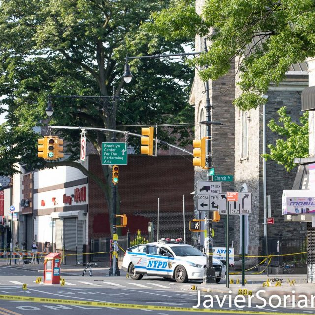 Thursday, June 4, 2020. Brooklyn, New York City – A man stabbed a NYPD officer. Another NYPD officer responded, shot the man, and two police officers. All the officers are in stable condition. The man is in critical condition. The incident happened on Wednesday, June 3, 2020, around 11:45 P.M. on the corner of Flatbush Ave and Church Ave in Flatbush, Brooklyn. The NYPD officer in the photo is not wearing a mask. New York governor, Andrew Cuomo and NYC Mayor, Bill de Blasio say, we need to wear a mask (it can be a home made mask). According to data from Johns Hopkins University, more than 30,000 people have died of COVID-19 in New York state. Photo by Javier Soriano/www.JavierSoriano.com