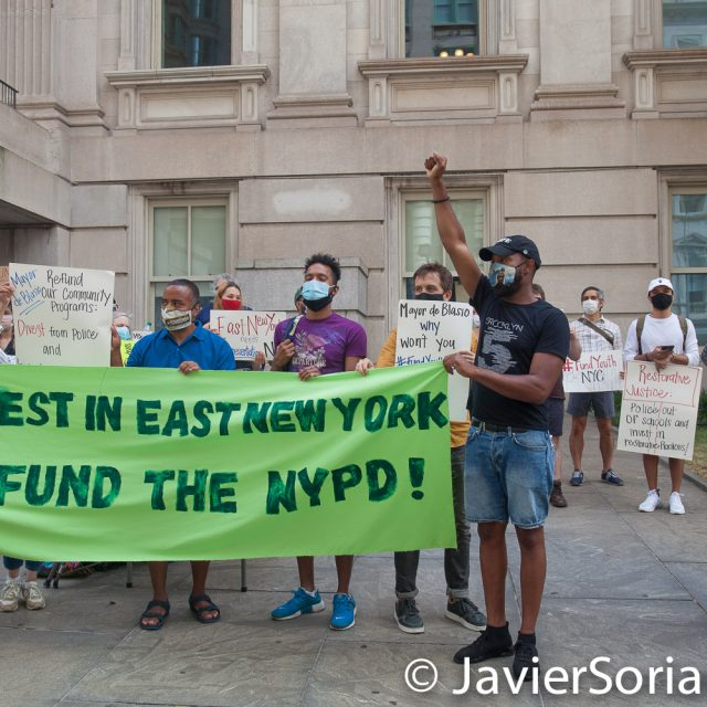 """Thursday, June 25, 2020. New York City - Rally """"Invest In East New York. Defund The NYPD!"""" in City Hall Park in Manhattan. Protestors demand NYC Council members, Corey David Johnson, Speaker of the New York City Council and NYC Mayor, Bill de Blasio Defund The NYPD by at least $1 billion and invest in their community. Photo by Javier Soriano/www.JavierSoriano.com"""