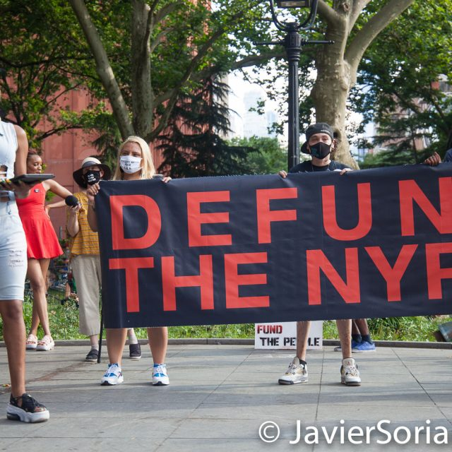 "Monday, June 29, 2020. New York City – ""Mass March to Defund the NYPD and Abolish the Police"" organized by NYC-DSA. People gathered in Washington Square Park in Manhattan and marched to City Hall Park to join people at ""Occupy City Hall"". Protesters ""demand that the City Council cut the NYPD police force and the NYPD budget in half and re-invest in community and social needs."" Photo by Javier Soriano/www.JavierSoriano.com"
