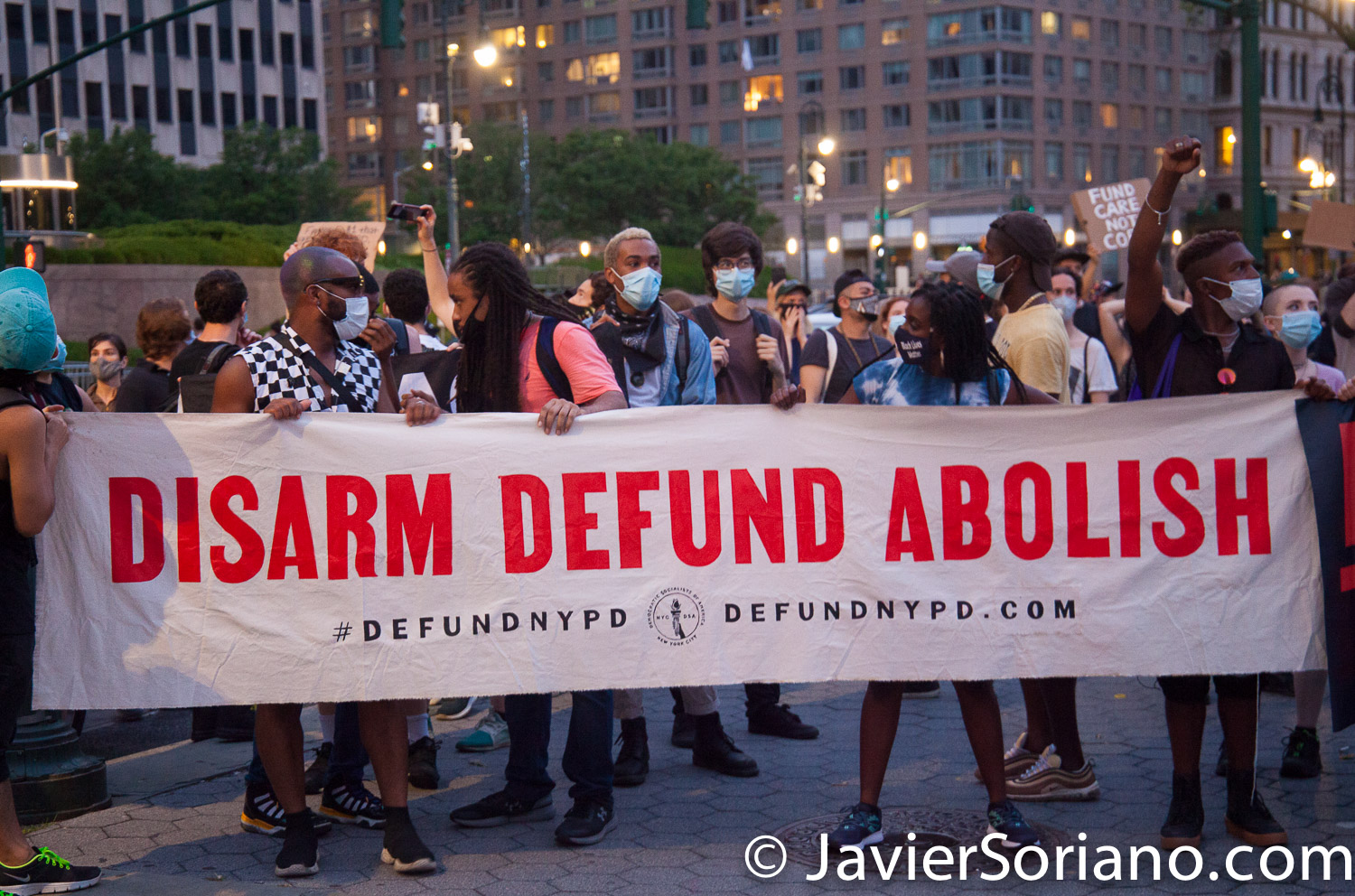 """Monday, June 29, 2020. New York City – """"Mass March to Defund the NYPD and Abolish the Police"""" organized by NYC-DSA. People gathered in Washington Square Park in Manhattan and marched to City Hall Park to join people at """"Occupy City Hall"""". Protesters """"demand that the City Council cut the NYPD police force and the NYPD budget in half and re-invest in community and social needs."""" Protesters at Foley Square Park. Photo by Javier Soriano/www.JavierSoriano.com"""