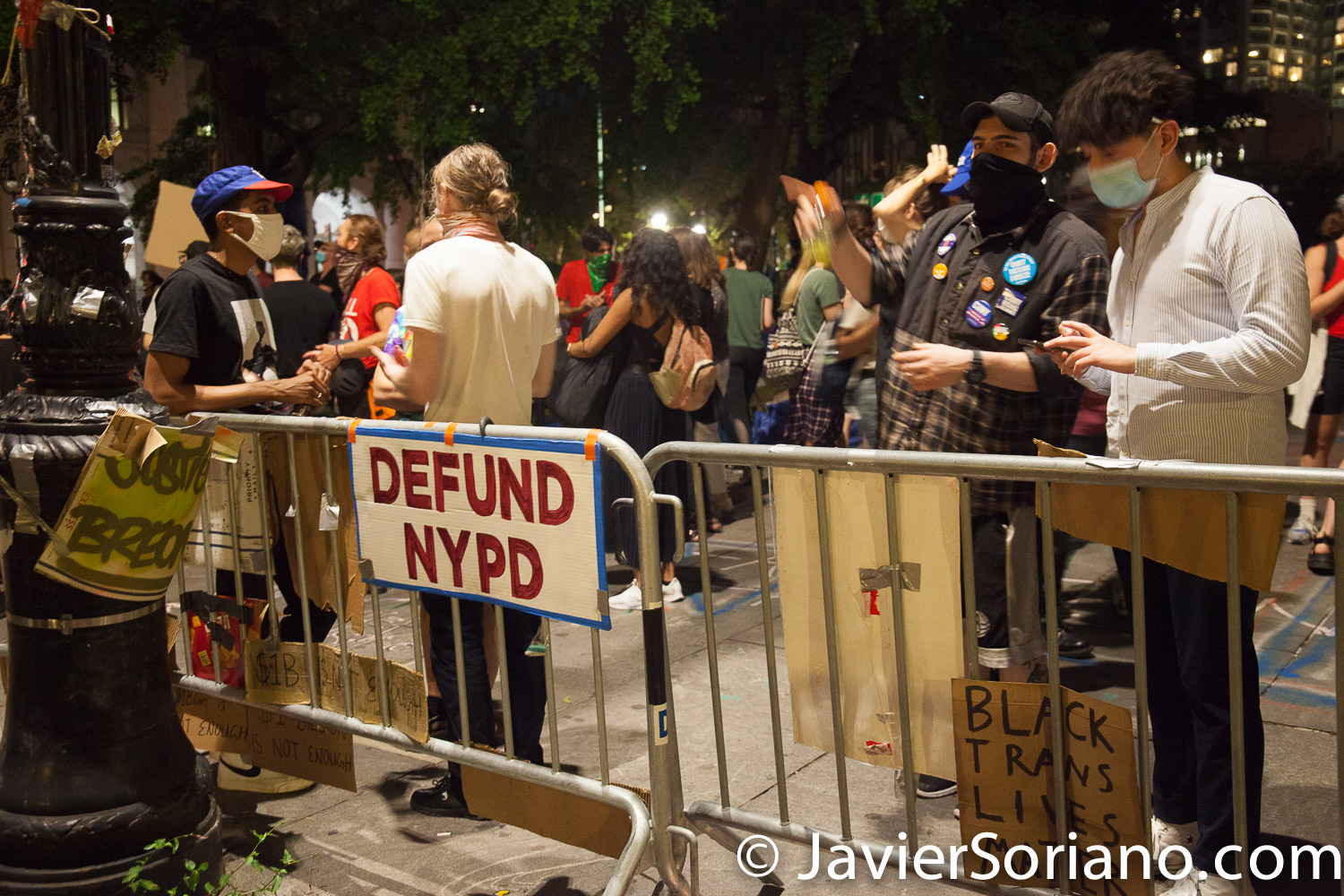 """Monday, June 29, 2020. New York City – """"Mass March to Defund the NYPD and Abolish the Police"""" organized by NYC-DSA. People gathered in Washington Square Park in Manhattan and marched to City Hall Park to join people at """"Occupy City Hall"""". Protesters """"demand that the City Council cut the NYPD police force and the NYPD budget in half and re-invest in community and social needs."""" Protesters at """"Occupy City Hall"""". Photo by Javier Soriano/www.JavierSoriano.com"""