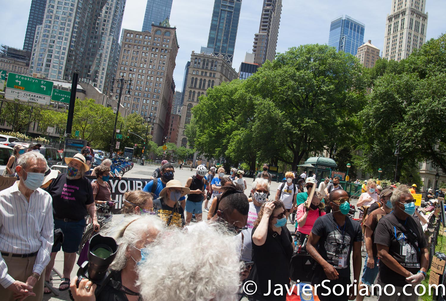 """Wednesday, June 24, 2020. New York City – Rally """"Elders For Black Lives"""" in City Hall Park, Manhattan, New York City. """"Elders For Black Lives"""" demand that NYC Council members and NYC Mayor Bill de Blasio cut at least $1 Billion from the NYPD budget and invest in Black lives, in elder care, in education, housing, jobs, healthcare, and social services. Photo by Javier Soriano/www.JavierSoriano.com"""
