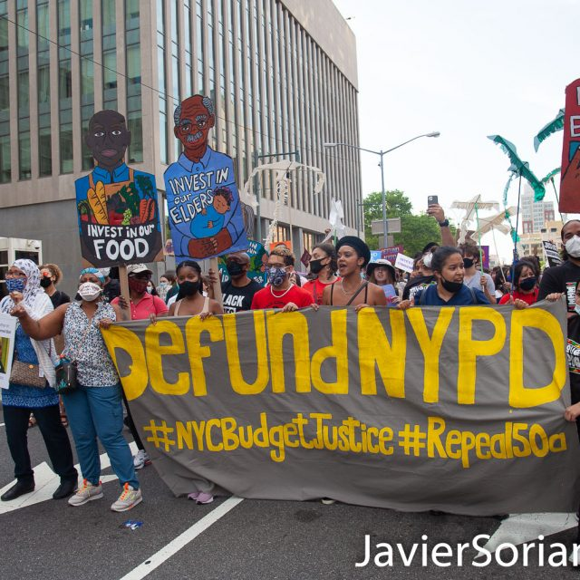 "Thursday, June 25, 2020. New York City - Rally and march ""Fund Communities, Not Cops"". Protesters gathered at City Hall park in Manhattan. After the rally, demonstrators marched to Barclays Center in Brooklyn. People demand NYC Council members, Corey David Johnson, Speaker of the New York City Council and NYC Mayor, Bill de Blasio Defund The NYPD by at least $1 billion and invest in social programs in our communities. Photo by Javier Soriano/www.JavierSoriano.com"