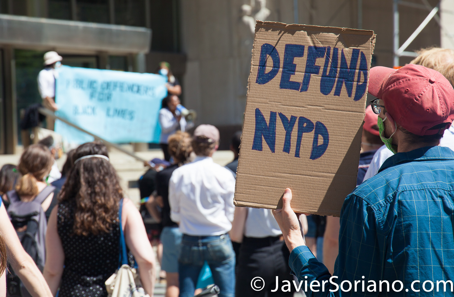 """Monday, June 8, 2020. Brooklyn, New York City – Public Defenders in front of The Supreme Court of the State of New York. They said, """"Black Lives Matter to Public Defenders"""". Public Defenders marched from Brooklyn to Manhattan. Photo by Javier Soriano/www.JavierSoriano.com"""