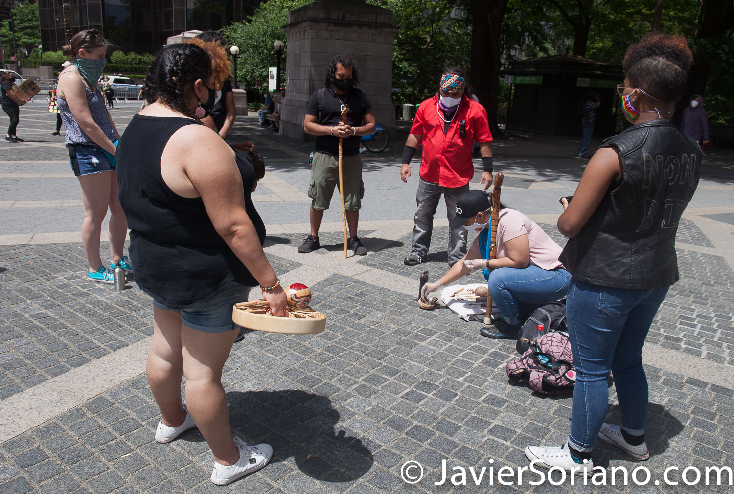 Sunday, June 7, 2020. New York City - Memorial for George Floyd at the Merchant's Gate in Manhattan. The memorial was organized by the Taino community in New York City. Photo by Javier Soriano/www.JavierSoriano.com
