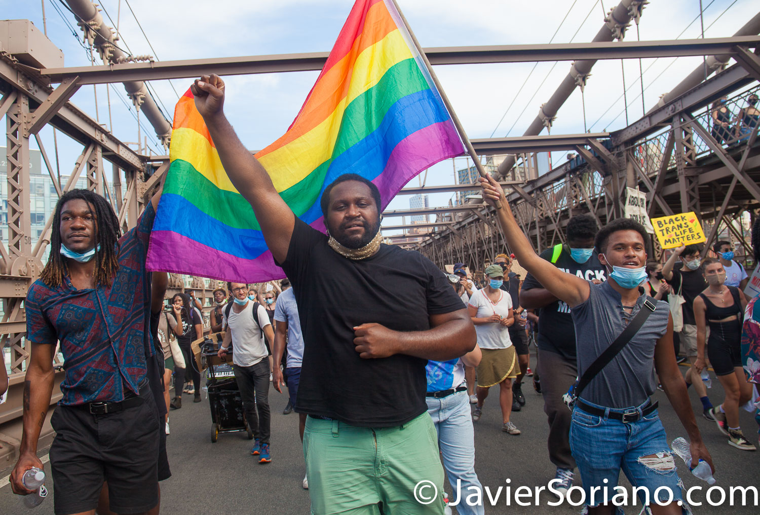 Friday, June 19, 2020. New York City – People celebrate Juneteenth on the Brooklyn Bridge. Brooklyn. Protestors also demand justice for people killed by police officers in the country and they want NYC Council members and NYC Mayor to defund the NYPD by at least one billion and invest in low income communities. Photo by Javier Soriano/www.JavierSoriano.com