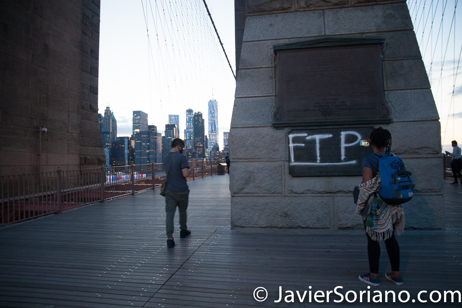 Monday, June 1, 2020. New York City - March from Barclays Center in Brooklyn to Manhattan. People demand justice for George Floyd and other people killed by police officers. This is the Brooklyn Bridge. Photo by Javier Soriano/www.JavierSoriano.com
