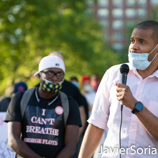 Monday, June 1, 2020. New York City - Rally at Grand Army Plaza in Brooklyn. On the microphone, activist, actor, and teacher from New York City Jabari Brisport. In 2019, Brisport announced a run for the New York State Senate 25th District, currently held by Democrat Velmanette Montgomery. His website: jabariforstatesenate.com Photo by Javier Soriano/www.JavierSoriano.com