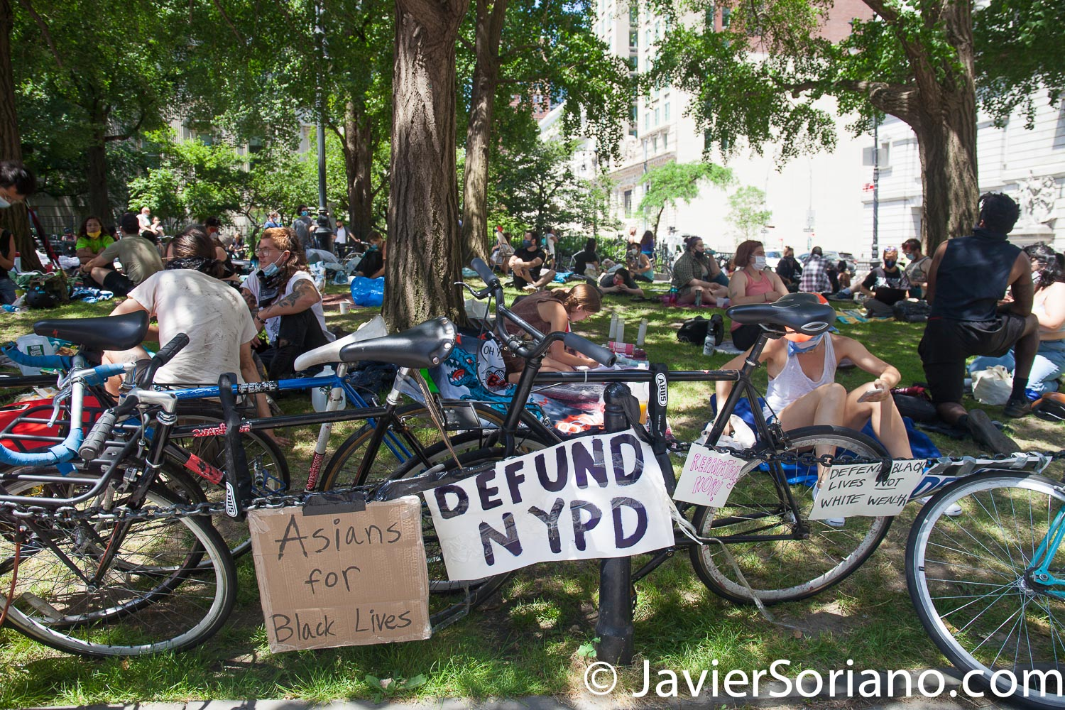 """Wednesday, June 24, 2020. New York City – On Tuesday, June 23, 2020, more than hundred people along with VOCAL-New York and New York Communities for Change started to """"Occupy City Hall"""" in New York City. They demand NYC Council members and NYC Mayor Bill de Blasio Defund The NYPD by at least $1 billion and invest in Youth services, affordable housing, healthcare, public education, social workers, and other social services in low income communities. Activists say they are not leaving City Hall Park until at least $1 billion is cut from the NYPD's $6 billion budget. Photo by Javier Soriano/www.JavierSoriano.com"""