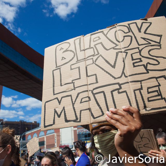 Sunday, May 31, 2020. New York City - Rally at Barclays Center, Brooklyn to demand justice for George Floyd, to support Black Lives Matter and to demand police accountability. Photo by Javier Soriano/www.JavierSoriano.com