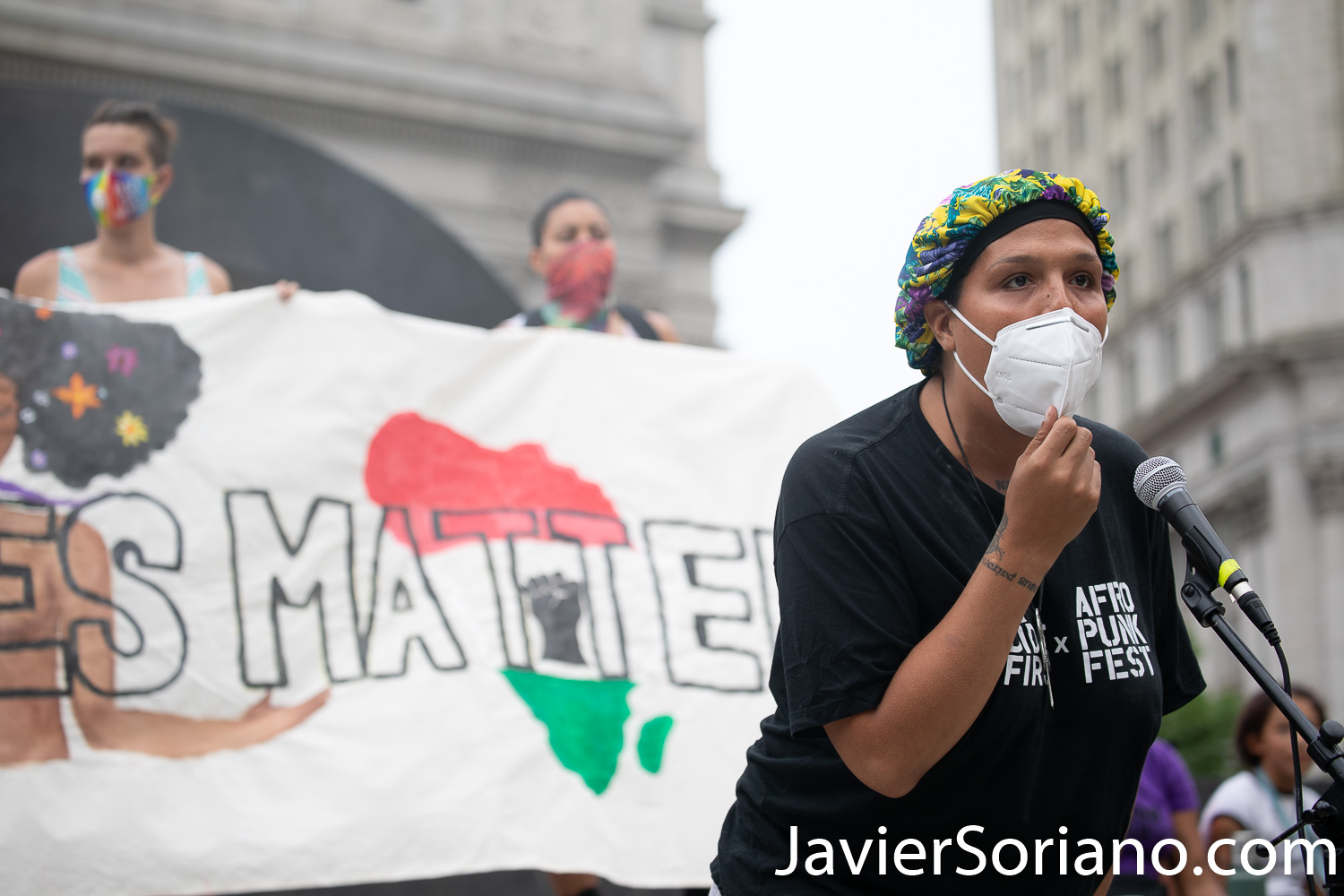 """Thursday, July 30, 2020. Manhattan, New York City - Rally and March: """"Not in our city. Not on our watch."""" Demonstrators gathered at Foley Square Park where they had a rally. Speakers spoke in support of undocumented immigrants, Trans women, Trans men and the Black community, in general. After the rally, protesters marched to Park Row and Worth St where activists staged a Die-in for victims of police brutality in New York and in the country. Demonstrators also demanded the resignation of the New York City Police Commissioner, Dermot Shea. Photo by Javier Soriano/www.JavierSoriano.com"""