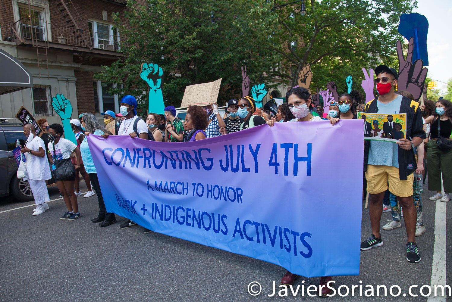 """Saturday, July 4, 2020. Brooklyn. New York City – March and rally: """"Confronting July 4th. A march to honor Black and Indigenous activists."""" The march started in Fort Green Park and end it in Prospect Park, where they had a rally. Demonstrators said, """"This country is founded on the genocide of Indigenous nations, the theft of their land, and the enslavement of African peoples."""" Photo by Javier Soriano/www.JavierSoriano.com"""