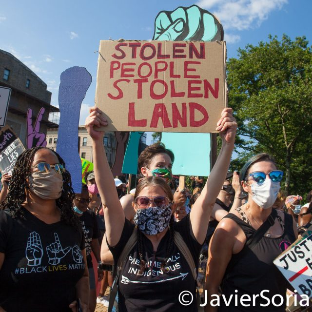 "Saturday, July 4, 2020. Brooklyn. New York City – March and rally: ""Confronting July 4th. A march to honor Black and Indigenous activists."" The march started in Fort Green Park and end it in Prospect Park, where they had a rally. Demonstrators said, ""This country is founded on the genocide of Indigenous nations, the theft of their land, and the enslavement of African peoples."" Photo by Javier Soriano/www.JavierSoriano.com"