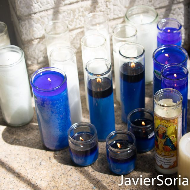 Saturday, August 15, 2020. Brooklyn, New York City - On Friday, August 14, 2020, Deshawn Reid was shot and killed in Flatbush. There are some candles in front of his apartment building. Photo by Javier Soriano/www.JavierSoriano.com