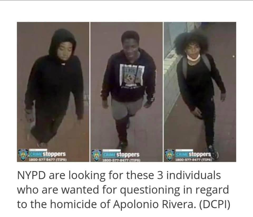 NYPD are looking for these 3 Black men who are wanted for questioning in regard to the homicide of Apolonio Rivera. (DCPI) If you have information about these 3 Black men, call Crime Stoppers. English: 1800-577-8477 or Español: 1-888-577-4782.