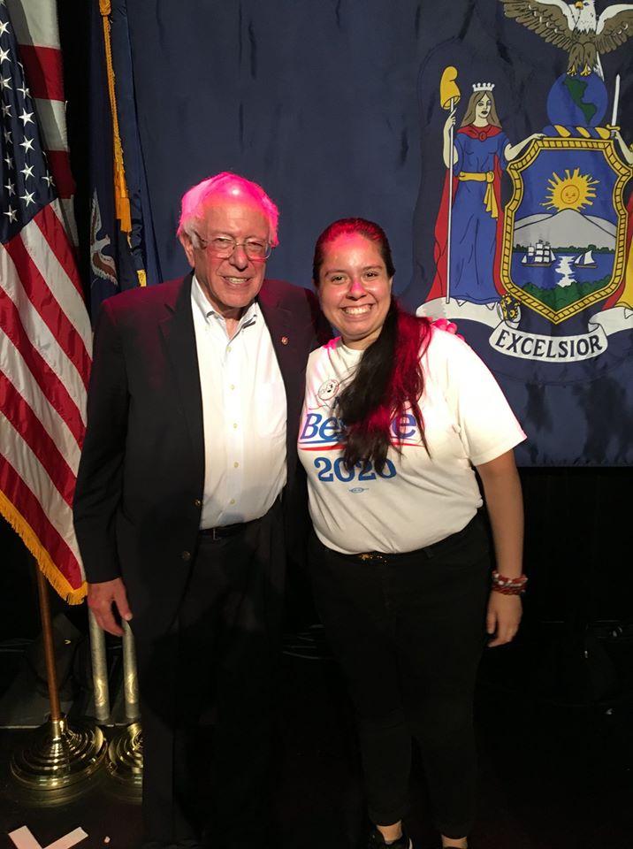 Bernie Sanders and Maria Ordoñez. (Facebook)