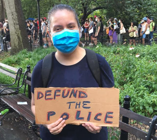 """#DefundNYPD NOW! Not even the rain could stop us! This is People Power!""_Maria Ordoñez. (Facebook. June 29, 2020)"