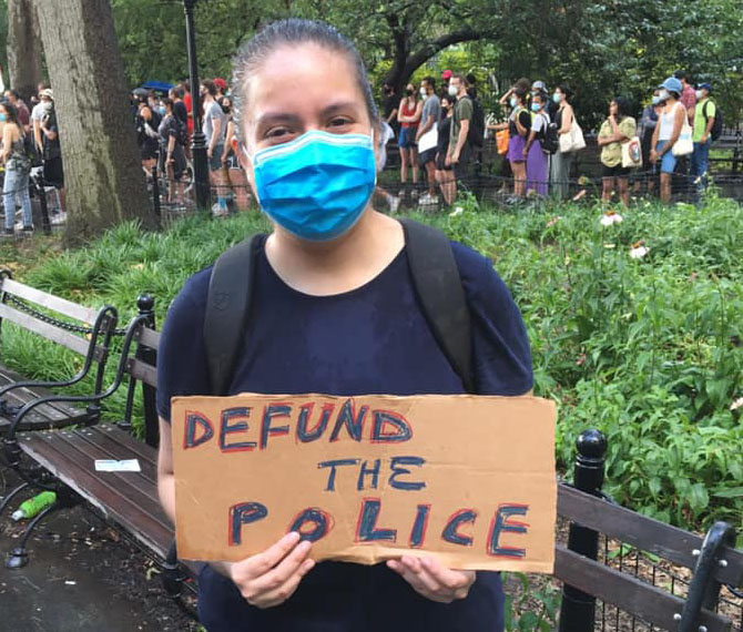 """""""#DefundNYPD NOW! Not even the rain could stop us! This is People Power!""""_Maria Ordoñez.   (Facebook. June 29, 2020)"""