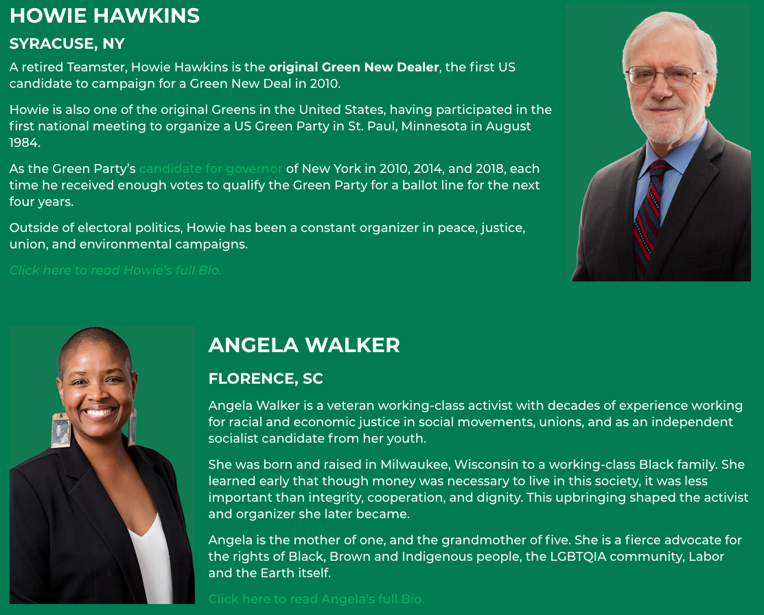 Howie Hawkins is the 2020 Green Party presidential nominee. Angela Walker is the 2020 Green Party vice presidential nominee.  Screen shot:  howiehawkins.us.