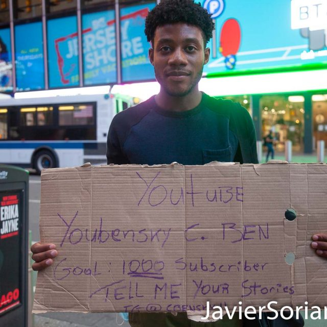 Thursday, September 3, 2020. Manhattan, New York City – Youtuber: Youbensky C. BEN in Times Square. Photo by Javier Soriano/www.JavierSoriano.com