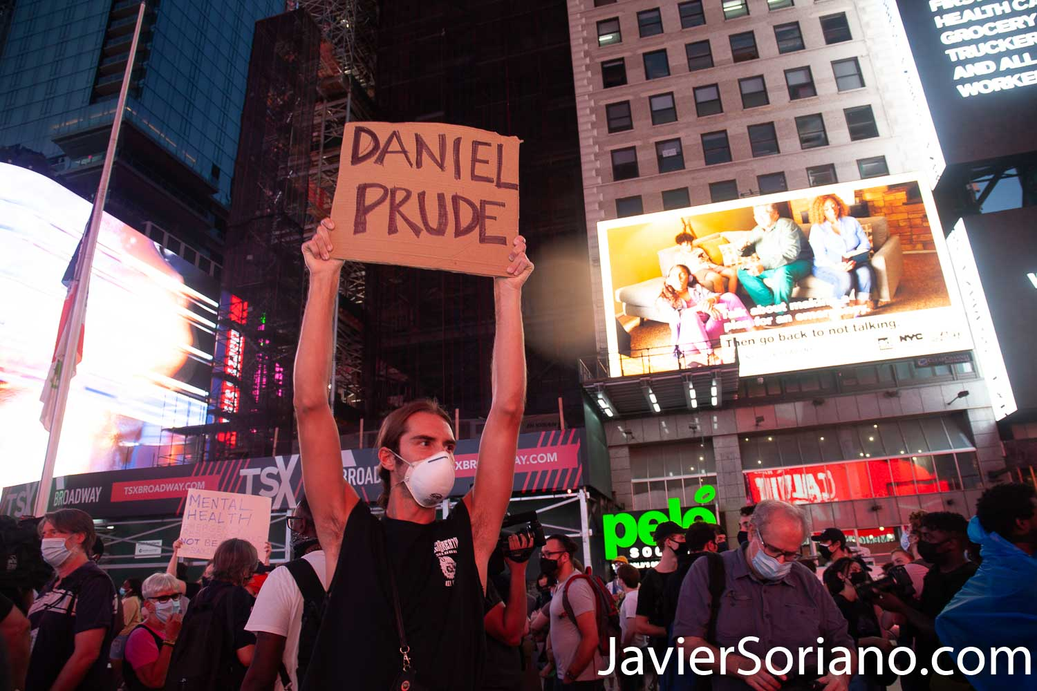 Thursday, September 3, 2020. Manhattan, New York City – Protesters in Times Square demand justice for Daniel Prude. Daniel was a Black man killed by police officers in Rochester, New York, in March, 2020. Photo by Javier Soriano/www.JavierSoriano.com