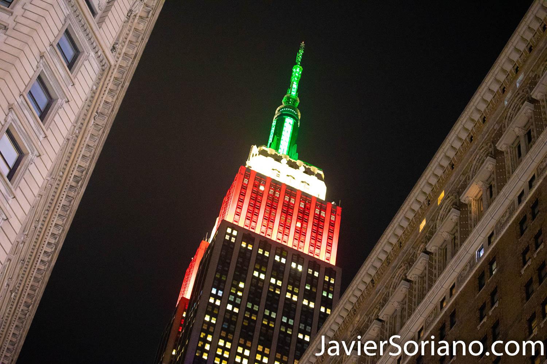 Martes 15 de septiembre de 2020. Ciudad de Nueva York – Los colores verde, blanco y rojo adornan el Empire State Building en honor al Día de la Independencia de México. Foto por Javier Soriano/www.JavierSoriano.com