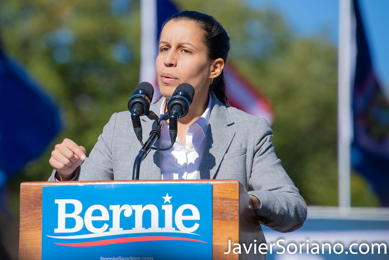 Saturday, October 19, 2019. Queens, New York City - Today Senator and presidential candidate Bernie Sanders had a rally in Queens. Tiffany Cabán was one of the speakers. Almost 26 thousand people attended the event. On Thursday, September 10, 2020, Tiffany Cabán launched her campaign for New York City Council District 22. Photo by Javier Soriano/www.JavierSoriano.com