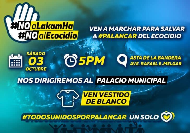 Se va a realizar una marcha en Isla Cozumel, el sábado 3 de octubre de 2020, a las 5 pm. Las personas se reunirán en la Explanada de la bandera (Avenida Rafael E. Melgar y Calle 1 Sur) y marcharán al Palacio Municipal.