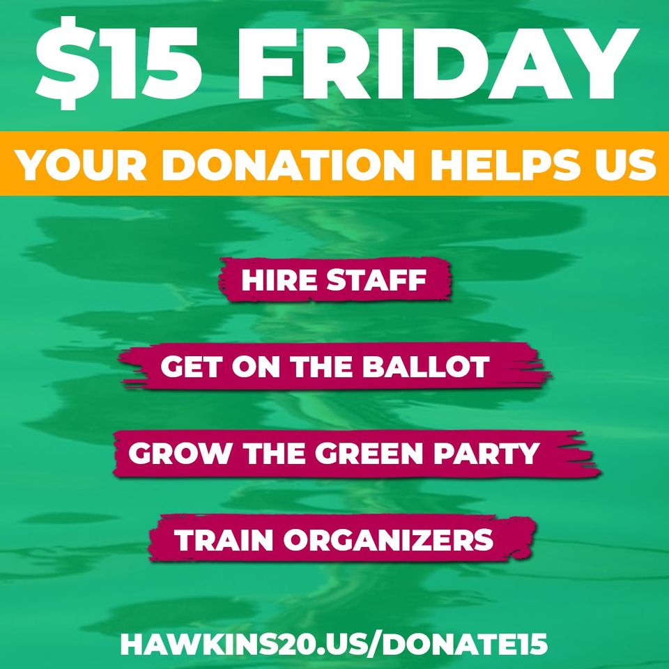 Howie Hawkins and Angela Walker need your help to spread the word and grow this grassroots campaign.  DONATE: hawkins20.us/Donate15  Image by Howie Hawkins.