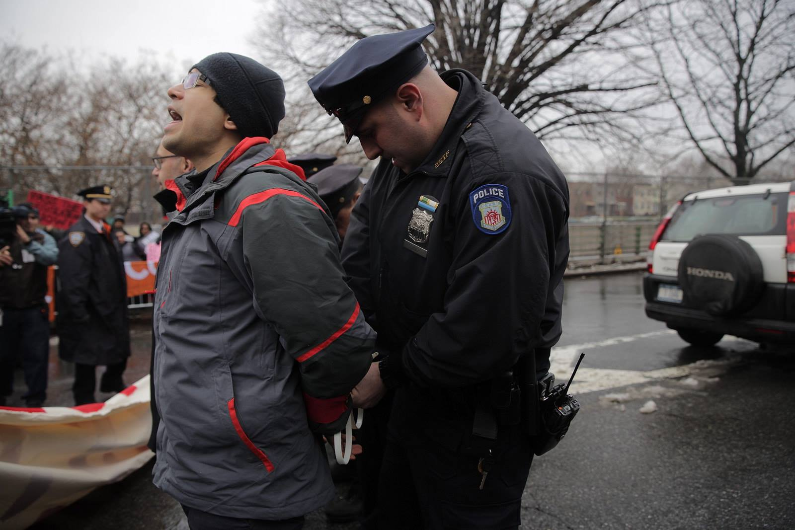 Wednesday, March 4, 2015. Brooklyn, New York City - New York City Councilman Carlos Menchaca was arrested during a protest outside the Vegas Auto Spa in Greenwood Heights. Photo: Carlos Menchaca/Facebook.