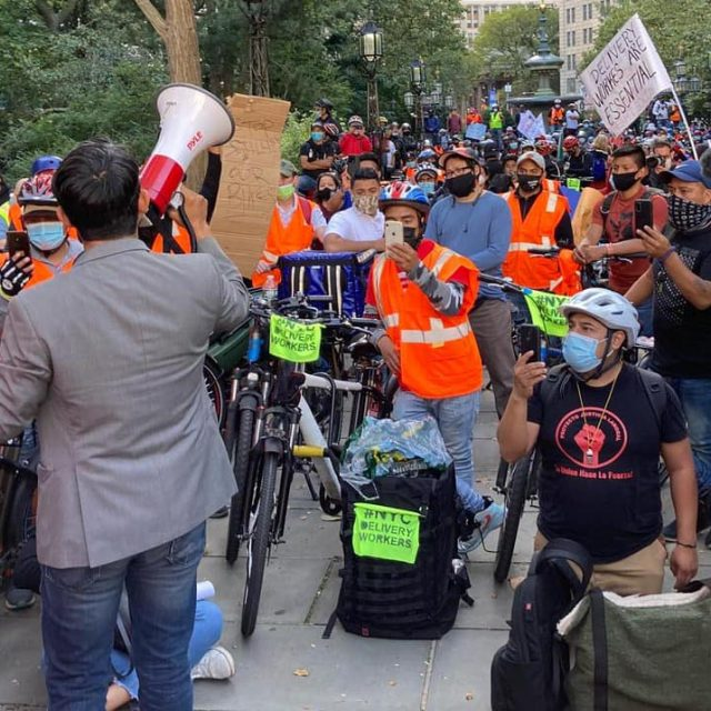 Thursday, October 15, 2020. New York City – March and rally in support of food delivery workers in Manhattan, New York City. Carlos Menchaca is a strong supporter of workers. Carlos was one of the speakers. Photo by Workers Justice Project - Proyecto Justicia Laboral.