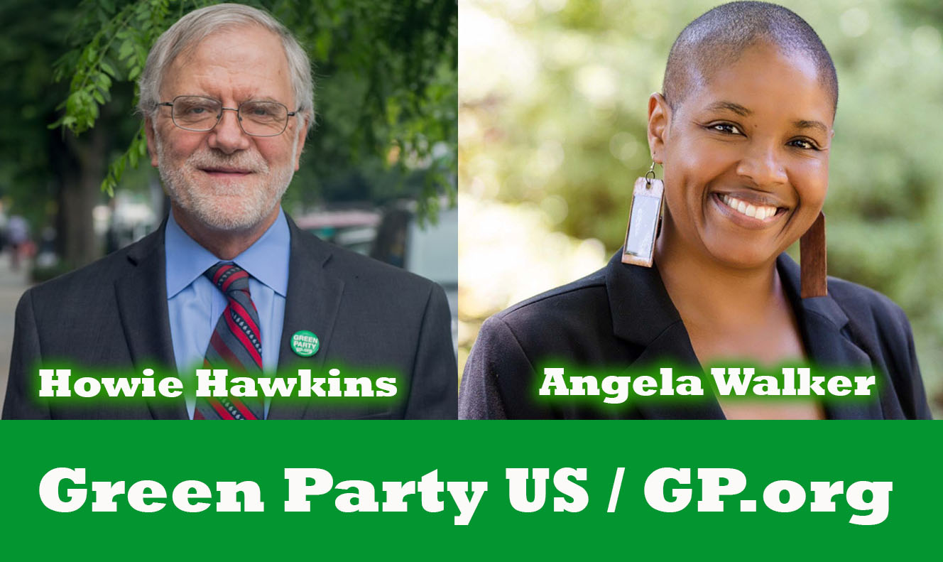 Howie Hawkins is the Green Party candidate for President in 2020. Angela Walker is the Green Party candidate for Vice President in 2020.