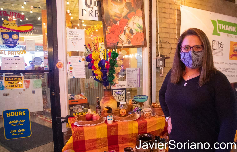 """Lunes 2 de noviembre de 2020. Brooklyn, Ciudad de Nueva York – El restaurant """"Antojitos del Patron Mexican Snacks"""" celebró el Día De Muertos. Foto por Javier Soriano/www.JavierSoriano.com"""