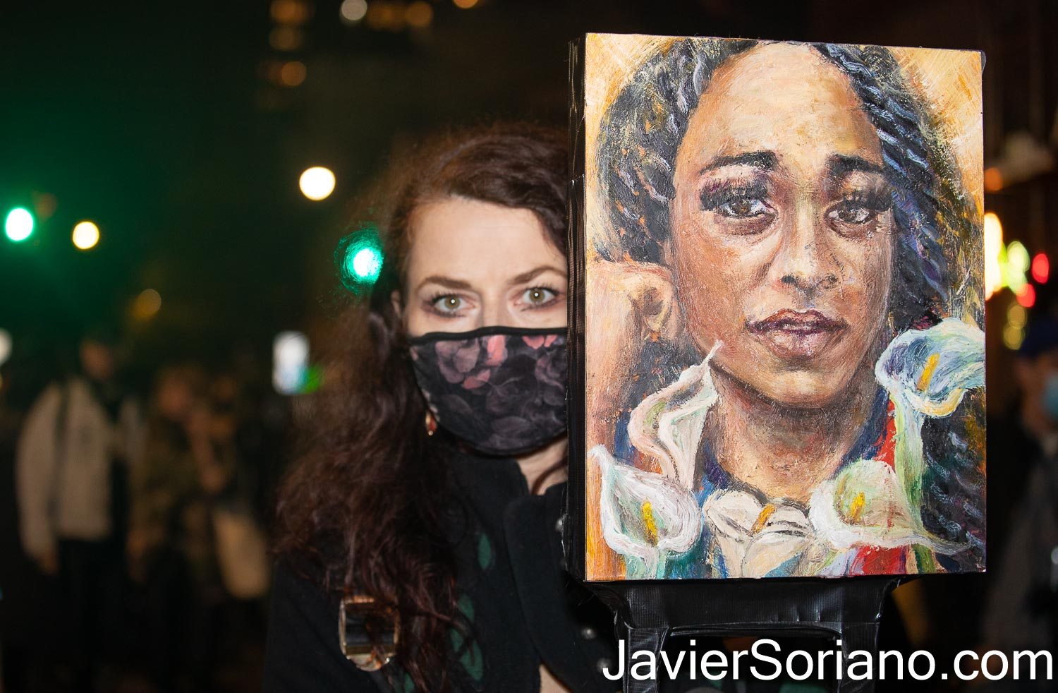 """Thursday, November 5, 2020. Manhattan, New York City – Rally and march """"WE CHOOSE FREEDOM."""" Trans rights activists demand respect for Black Trans women and Black Trans men. Painter Claudine Anrather marched with a painting of Riah Milton.  Photo by Javier Soriano/www.JavierSoriano.com"""