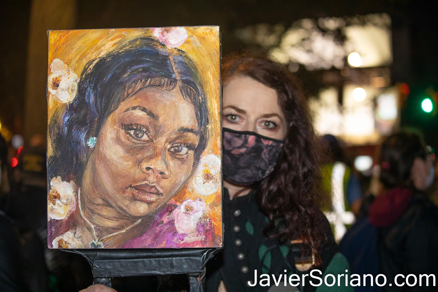 """Thursday, November 5, 2020. Manhattan, New York City – Rally and march """"WE CHOOSE FREEDOM."""" Trans rights activists demand respect for Black Trans women and Black Trans men. Painter Claudine Anrather marched with a painting of Breonna Taylor. Photo by Javier Soriano/www.JavierSoriano.com"""