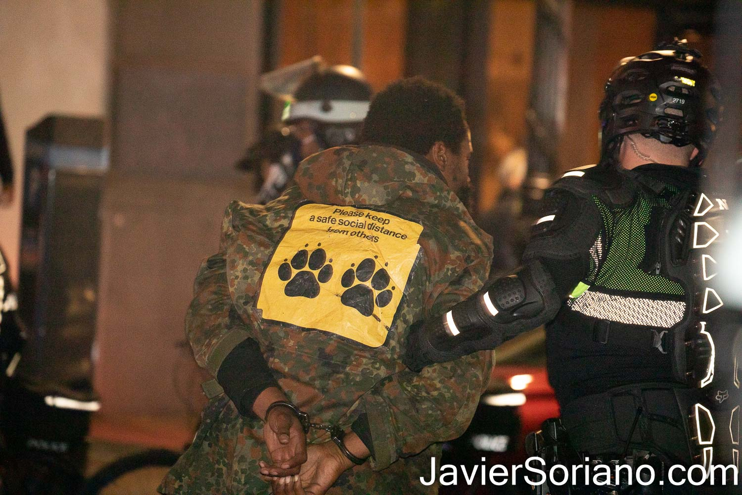 """Thursday, November 5, 2020. Manhattan, New York City – Rally and march """"WE CHOOSE FREEDOM."""" Trans rights activists demand respect for Black Trans women and Black Trans men. NYPD officers arresting a Black man. Photo by Javier Soriano/www.JavierSoriano.com"""